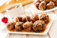 Juicy meatballs in tomato sauce Stock Photography