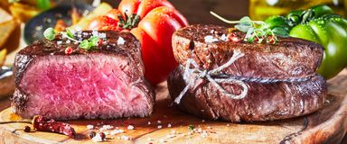 Juicy medium rare fillet steak mignon stock images