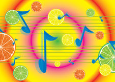 Juicy melody background. With flying notes and fruits Stock Image