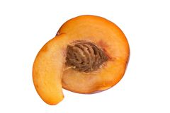 Juicy Nectarine. A nectarine sliced in half Stock Image