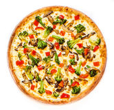 Juicy new year's pizza. New year fresh pizza on a white background Royalty Free Stock Photos