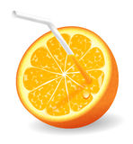 Juicy orange. Eye catching juicy half of orange with straw Stock Photos