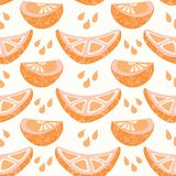 Juicy orange citrus fruit segment slicwith splash drops. Hand drawn seamless pattern illustration. Fresh tropical juice cross section slice for healthy vitamin royalty free illustration