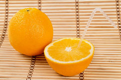 Juicy orange fruit and his segments drink juice Royalty Free Stock Image