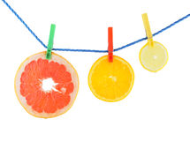 Juicy orange, grapefruit and lemon isolated Royalty Free Stock Photography