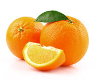Juicy orange with leaf Royalty Free Stock Photos