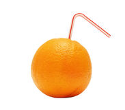 Juicy orange with a pipe isolated Stock Image