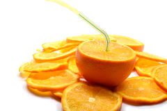 Juicy orange pouring jet of juice Royalty Free Stock Photography