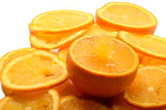 Juicy orange pouring jet of juice Stock Images