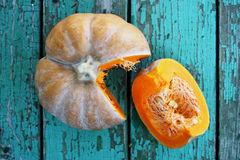 Juicy orange pumpkin, top view Royalty Free Stock Photos