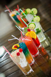 Juicy Orange and Red Tequila Sunrise with a Cherry Royalty Free Stock Photography