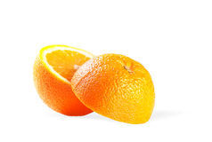 Juicy Orange Refreshment with Clipping Path. Two perfectly fresh oranges. Isolated on white stock images