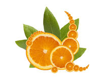 Juicy Orange Slices with Leaves Stock Photo