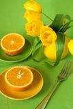 Juicy oranges for breakfast Royalty Free Stock Image