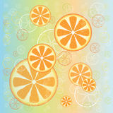 Juicy oranges on colorful background Stock Photo