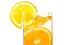 Juicy oranges in glass. Juicy oranges in glass on isolated background stock photos