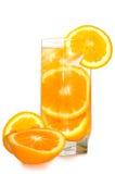 Juicy oranges in glass. Juicy oranges in glass on isolated background stock image