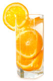 Juicy oranges in glass. Juicy oranges in glass on isolated background royalty free stock images