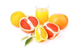 Juicy oranges and grapefruit and orange fresh juice Stock Photo