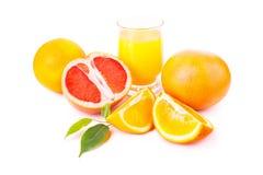 Juicy oranges and grapefruit and orange fresh juice Royalty Free Stock Image