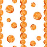 Juicy oranges watercolor art. Hand drawn seamless pattern with citrus fruit on the white background. royalty free illustration