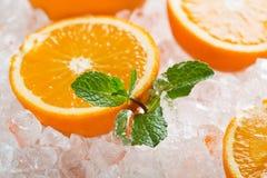 Juicy Oranges On Ice Cubes. Stock Photos