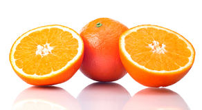 Juicy Oranges Refreshment. On a white background Stock Images
