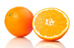 Juicy Oranges Refreshment. On a white background Stock Photo