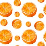 Juicy oranges watercolor art. Hand drawn seamless pattern with citrus fruit on the white background. stock illustration