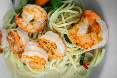 Pasta with Shrimp. lunch. dinner. Belgian speciality.