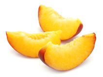 Juicy peach slices Stock Photo