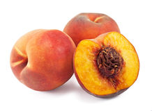 Juicy peaches isolated on white Stock Photos