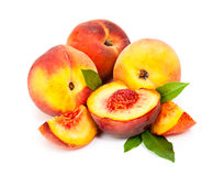 Juicy peaches isolated on white background Royalty Free Stock Images
