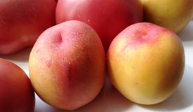 Juicy peaches, plums Stock Photos