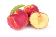 Juicy peaches with slice Stock Photo