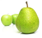 Juicy pear and green apples Royalty Free Stock Photo