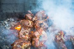 juicy pieces of barbeque shish kebab are prepared on the grill royalty free stock image