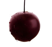Juicy plum with shiny drops of water. A single purple plum, isolated on a white background. Berries for homemade juices. stock photos