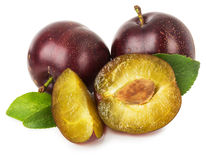Juicy plums isolated on the white background Royalty Free Stock Image