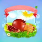 Juicy pomegranate label design Stock Photography