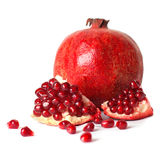 Juicy pomegranate on white background. Juicy pomegranate isolated on white background Stock Photo