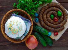 Juicy pork sausage. Easter dishes. Royalty Free Stock Photos
