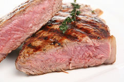 Juicy Rare Sirloin Steak Royalty Free Stock Photography