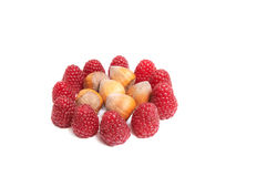 Juicy  raspberries and hazelnuts on a white. Royalty Free Stock Photo