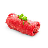 Juicy raw beef rouladen on white Stock Image