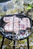 Juicy raw steaks on the grill Royalty Free Stock Photo