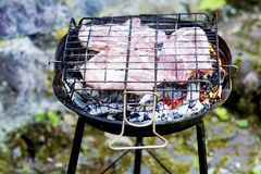 Juicy raw steaks on the grill. Delicious roasted steaks on the grill -outdoor barbecue Royalty Free Stock Image
