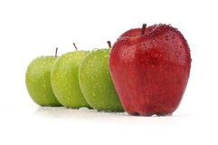 Juicy red apple in stack of green apple. Isolated white background Stock Photos