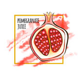 Juicy red garnet. Vector illustration for packaging of pomegranate juice, isolated on white. Juicy red garnet. Vector illustration for packaging of pomegranate Stock Images