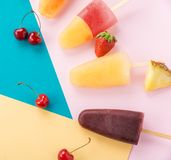 Juicy refreshing popsicles Stock Photo